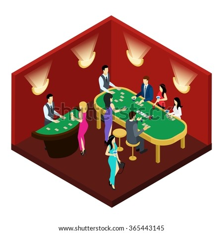 Poker and gambling with men women wearing dresses and suits isometric vector illustration  - stock vector