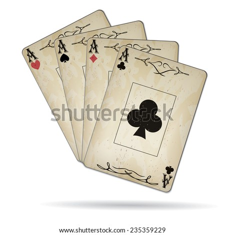 Poker card old, ace of clubs, ace of diamonds, ace of hearts, ace of spades, set isolated on white background - stock vector