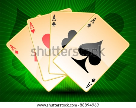 Poker card set of ace - stock vector