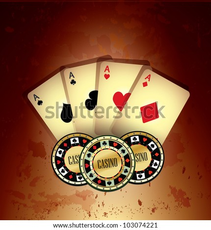 Poker Cards and Chips, Grunge Background - stock vector