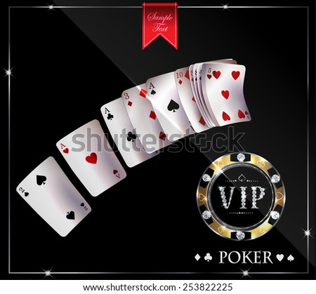 poker cards and vip chip - stock vector