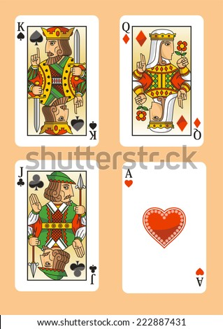 Poker cards featuring the three figures and the ace of hearts. - stock vector