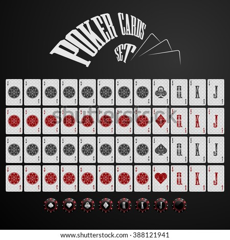 Poker cards play set - stock vector