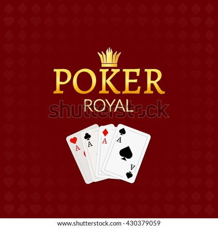 Poker casino poster logo template design. Royal golden poker room design template.