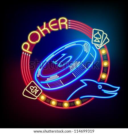 Poker casino token in neon light - stock vector