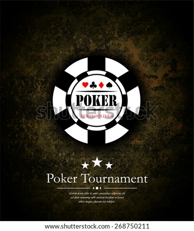 Poker chip and Poker Tournament label. - stock vector