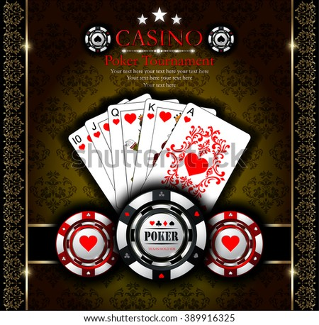 Poker chip.Casino. Ornaments background.Vip.Vintage style and Poker Tournament label. Royal flush. All-in. - stock vector