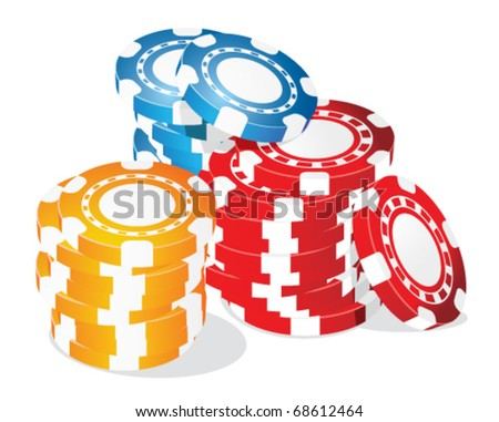 Poker chips - stock vector