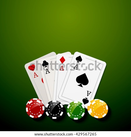 Poker chips and cards bacgkground. Poker Casino template poster. Flyer design layout.