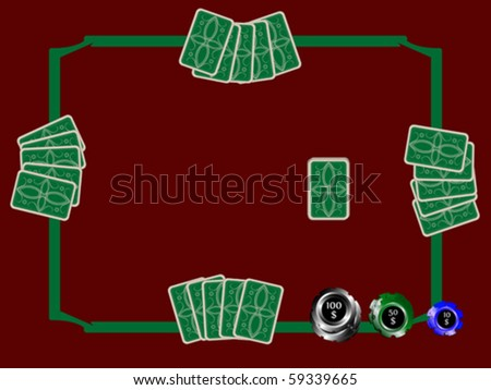 poker chips and table with cards, abstract vector art illustration - stock vector