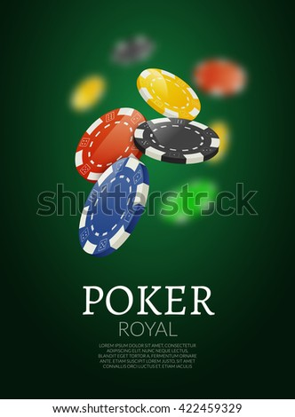 Poker chips background. Poker Casino template poster. Flyer gamble banner design layout.