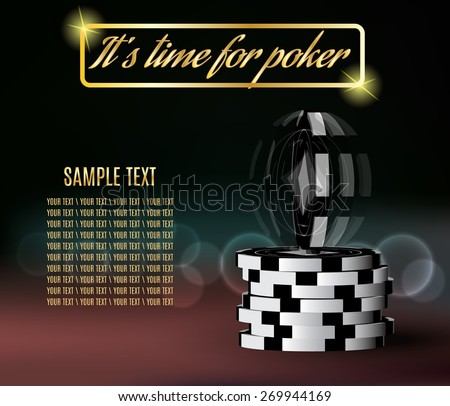 Poker chips with a twisting chip on blurred background