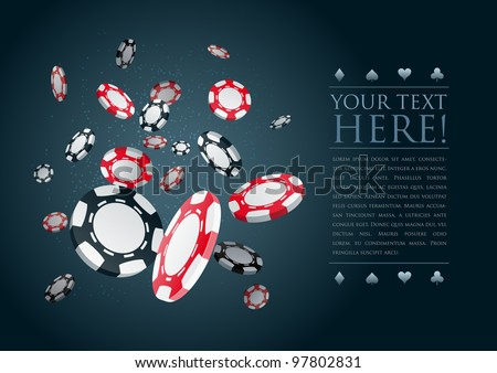 Poker gambling chips poster template. Elements are layered separately in vector file. - stock vector