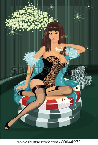 poker girl - stock vector