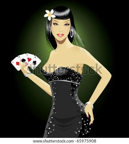 Poker girl - stock vector