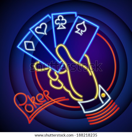 Poker Illustration: Hand Holding Playing Cards in Neon Light - stock vector