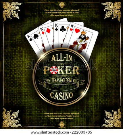 Poker Kings. Vector background. Poker and casino label. Texas holdem. All-in.