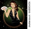 Poker lady - stock vector