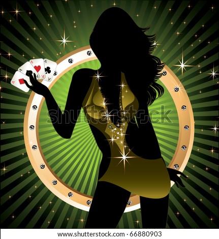 Poker Lady - stock vector