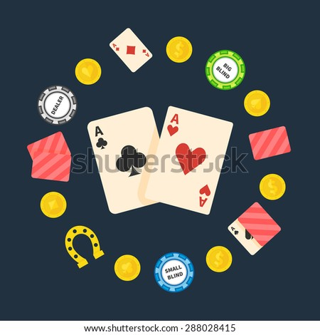 Poker logo or symbol - vector flat poker illustration, gambling and casino logo