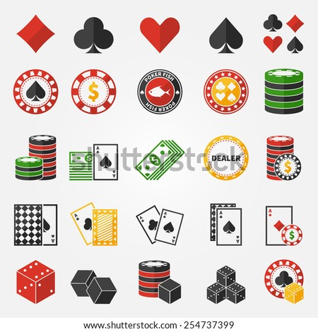 Poker or gambling icons set - vector casino symbols in flat style - stock vector