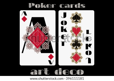 Poker playing card. Ace diamond. Joker. Poker cards in the art deco style. Standard size card. - stock vector