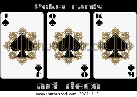 Poker playing card. Jack spade. Queen spade. King spade. Poker cards in the art deco style. Standard size card. - stock vector