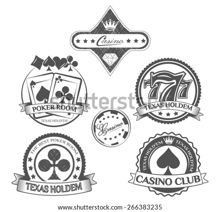 poker set of labels. casino, playing cards and chips - stock vector