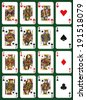 Poker set with isolated cards on green background - High cards - stock