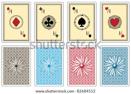 poker size cards with any suit aces - stock vector