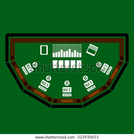 Poker table icon over green background. Vector illustration.