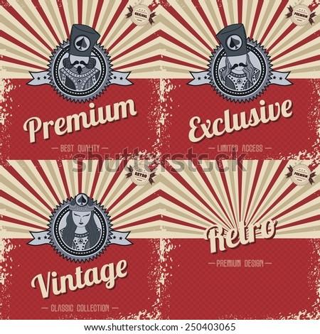 poker theme - retro theme - stock vector