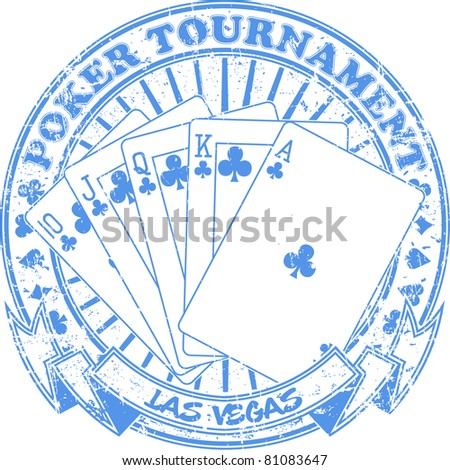 Poker tournament stamp - stock vector
