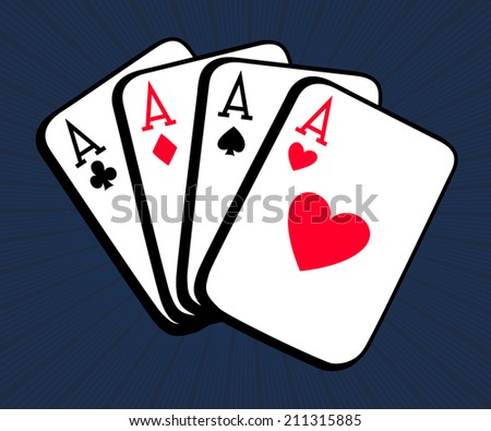 Poker. Vector illustration of four aces cards - stock vector