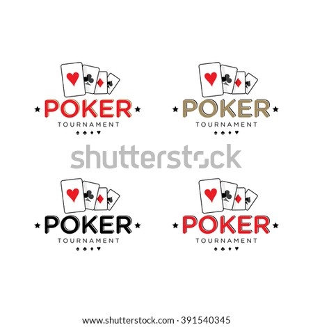 Poker Vector Logo Templates Set with cards