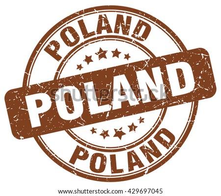Poland brown grunge round vintage rubber stamp.Poland stamp.Poland round stamp.Poland grunge stamp.Poland.Poland vintage stamp. - stock vector