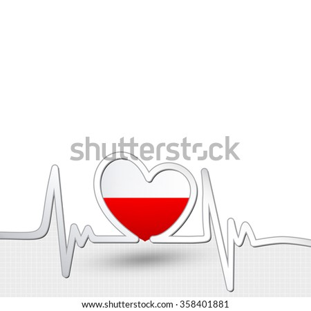 Poland flag heart and heartbeat line.Patriotic vector background.