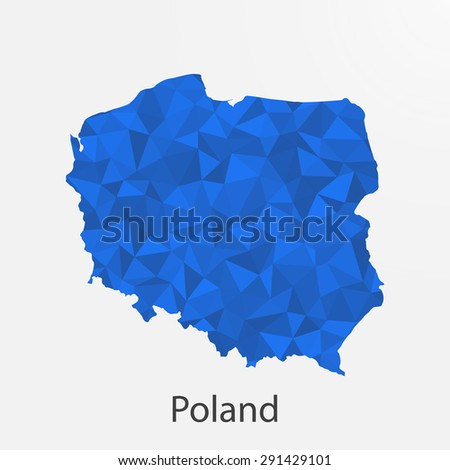 Poland flag map in geometric,mosaic polygonal style.Abstract tessellation,background. Vector illustration EPS10 - stock vector