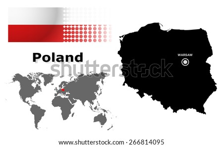 Poland info graphic with flag , location in world map, Map and the capital ,Warsaw, location.(EPS10 Separate part by part) - stock vector