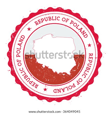 Poland map and flag in vintage rubber stamp of country colours. Grungy travel stamp with map and flag of Poland, vector illustration - stock vector