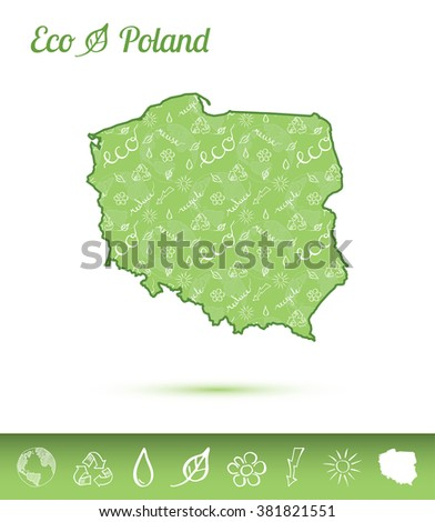 Poland map filled with eco pattern. Green Poland map with ecology concept design elements. Vector illustration of Poland map. - stock vector