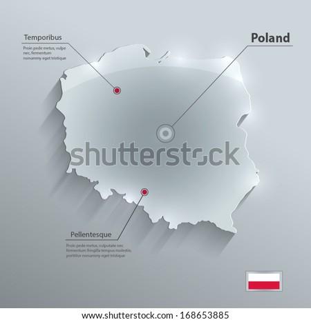 Poland map flag glass card paper 3D vector blue - stock vector
