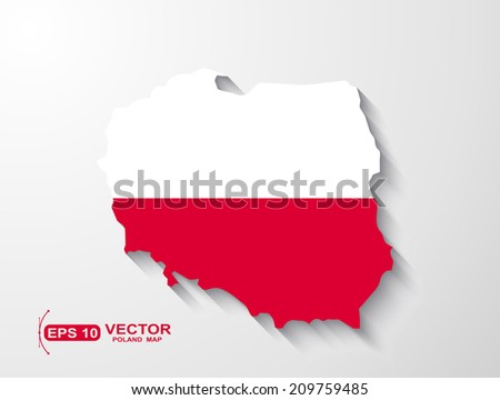 Poland map with shadow effect  - stock vector