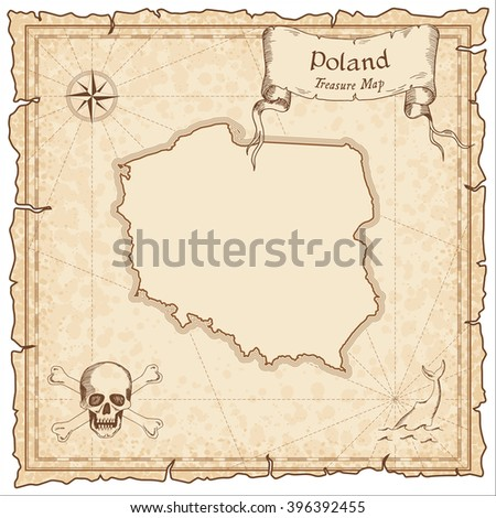 Poland old pirate map. Sepia engraved template of Poland pirate map. Stylized Poland pirate map on vintage torn paper. - stock vector