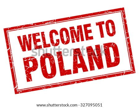 Poland red square grunge welcome isolated stamp