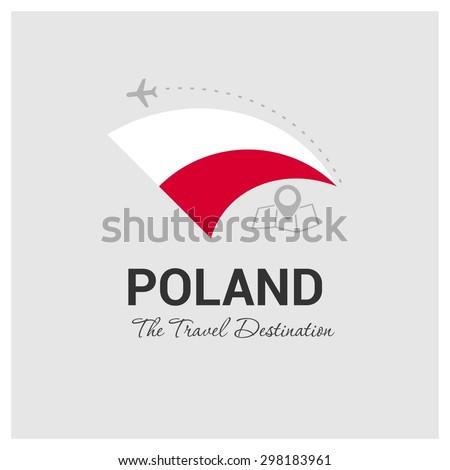 Poland The Travel Destination logo - Vector travel company logo design - Country Flag Travel and Tourism concept t shirt graphics - vector illustration - stock vector