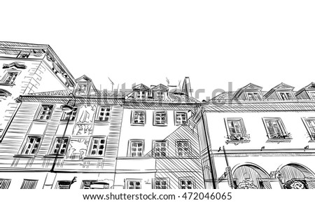 Poland. Warsaw. Old building facade hand drawn sketch. Unusual perspective. City vector illustration