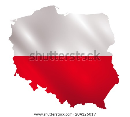Poland waving flag in a shape of Polish borders vector - stock vector