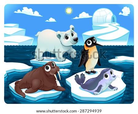 Polar animals on the ice. Vector and cartoon illustration - stock vector