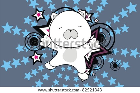 polar bear baby cartoon jump background in vector format